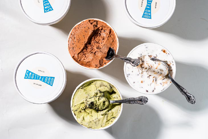pints of ice cream viewed from above