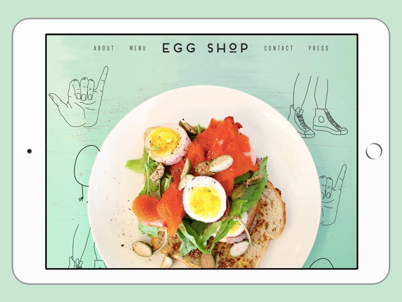 Tablet mock-up of Egg Shop website