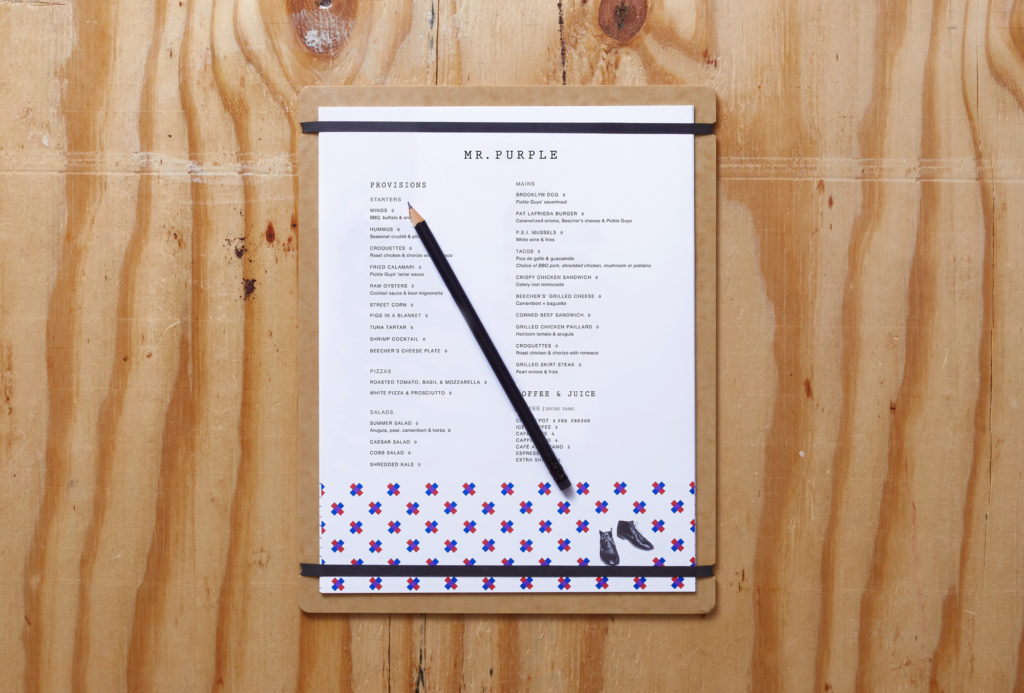 Mr Purple menu