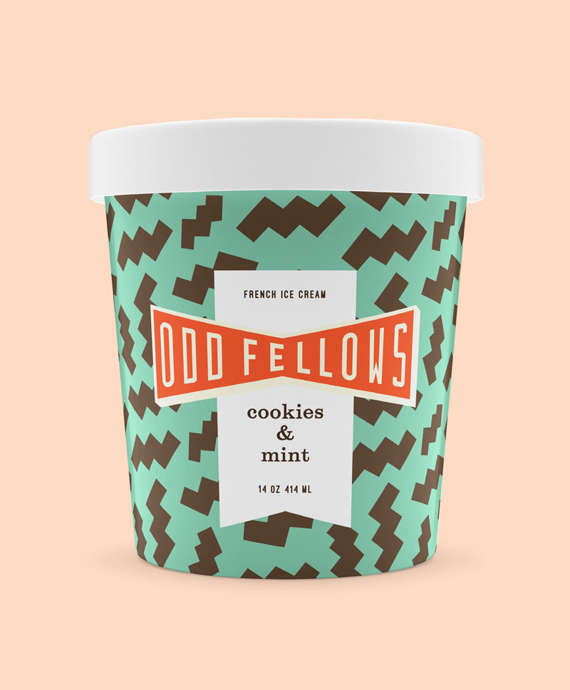 pint of OddFellows Cookies & Mint ice cream