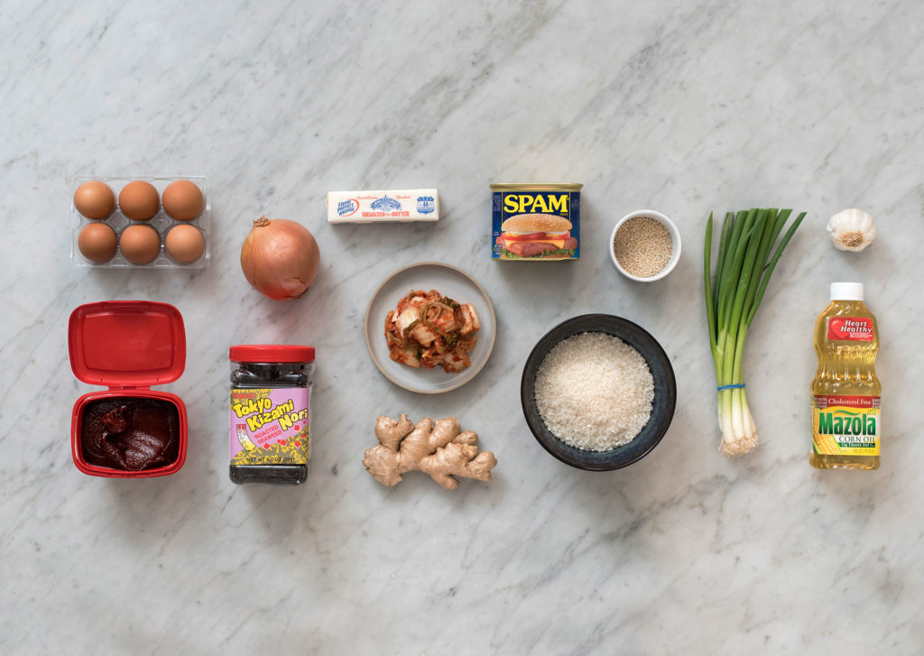 neatly arrayed ingredients for Spam fried rice