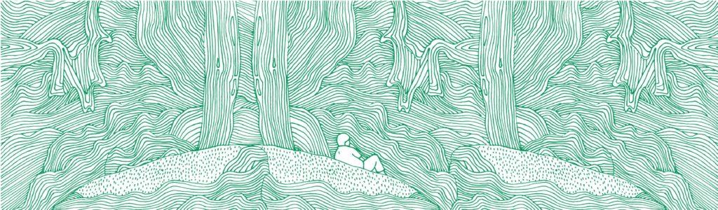 pen and ink illustration of a landscape