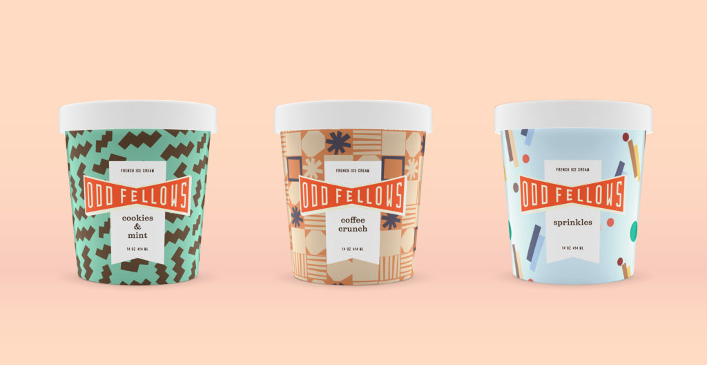 pints of OddFellows Cookies & Mint, Coffee Crunch, and Sprinkles ice cream