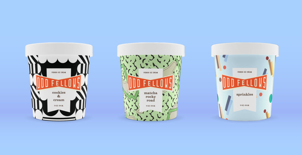pints of OddFellows Cookies & Cream, Matcha Rocky Road, and Sprinkles ice cream