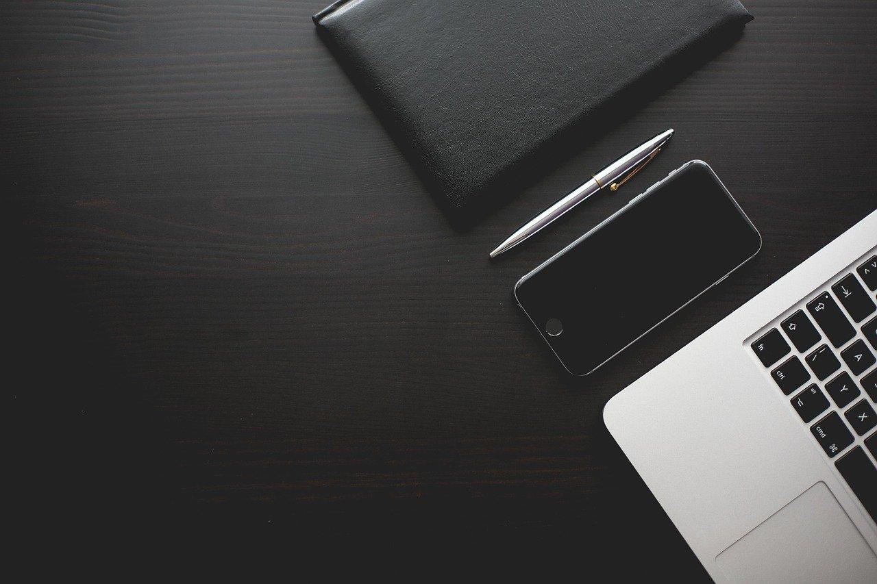 office, desk, smartphone