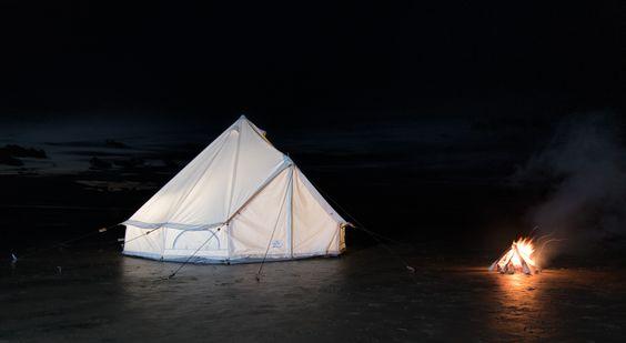 Campfire near a Bell Tent
