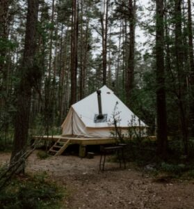 Wall Tents On The Wooden Platform