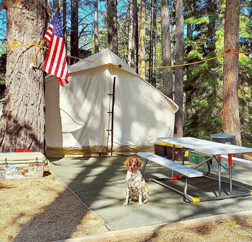wall tent and outdoors