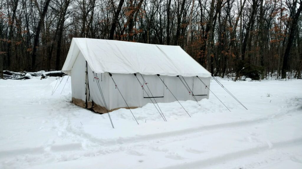 glamping tent winter snow canvas wall tent
