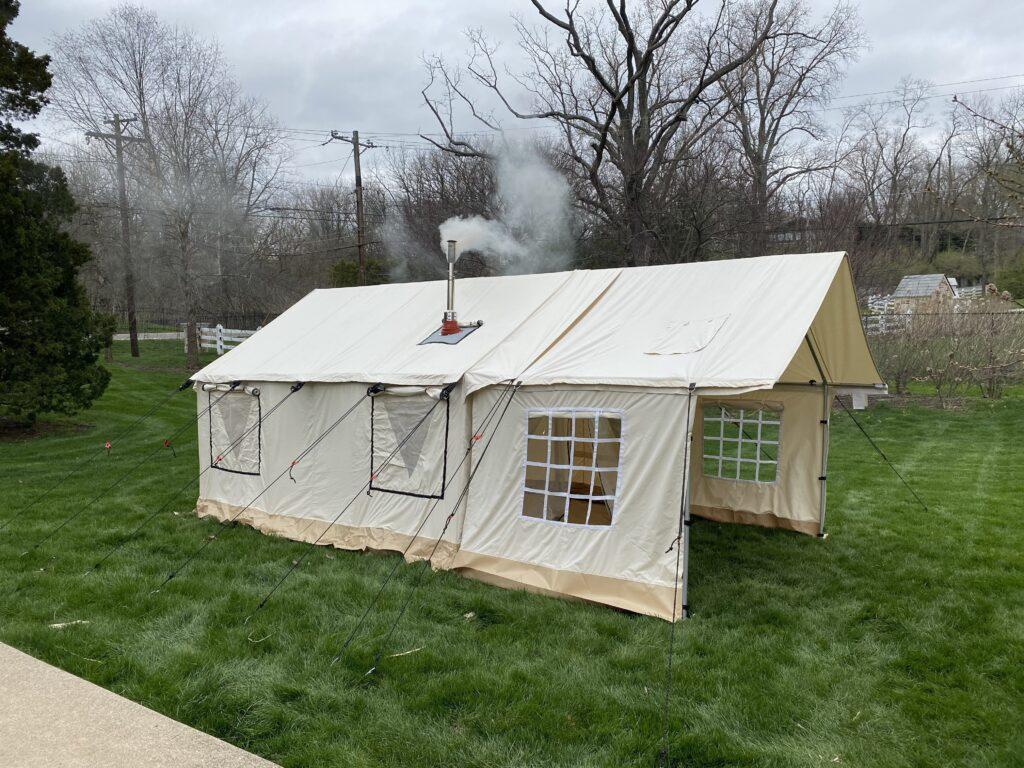 wall tent glamping stove outdoors camping