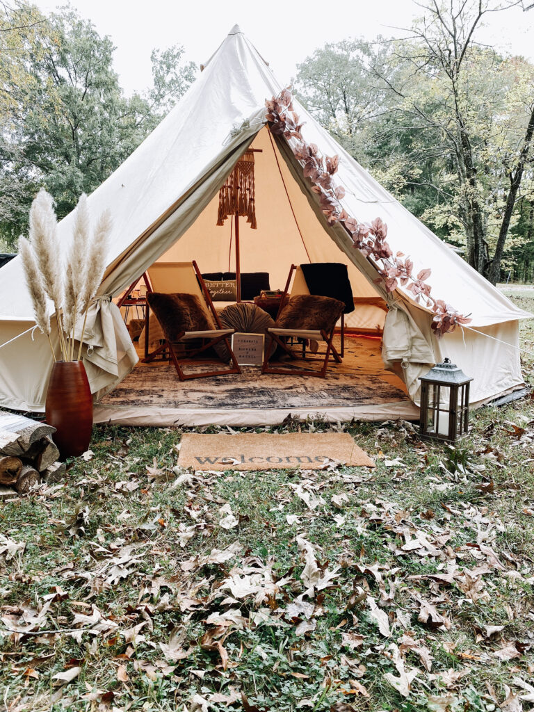 glamping tent outdoors camping canvas tent chairs grass outdoors
