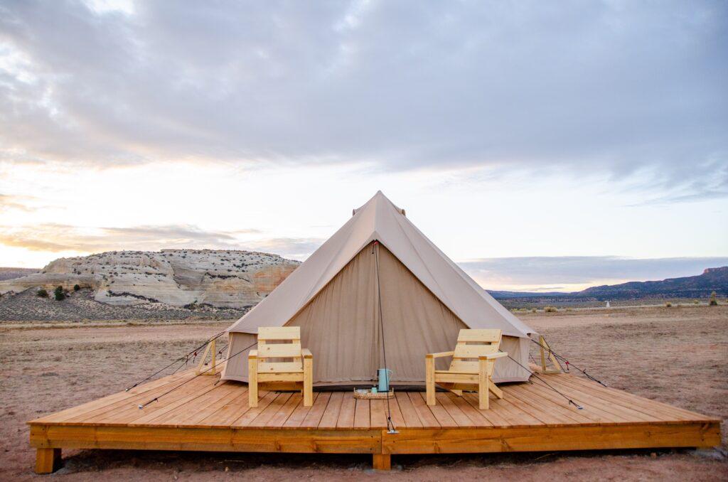 glamping tent outdoors camping glamping utah desert