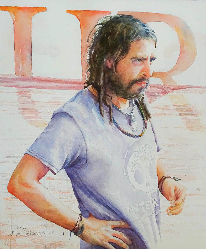 "22""x 17"" UR2 watercolor painting of a Columbian man with dreadlocks"