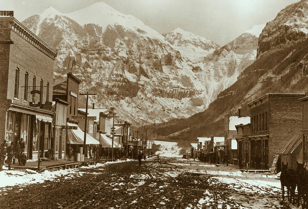 Historical Photo of the Town of Telluride Colorado Avenue with view of Ajax