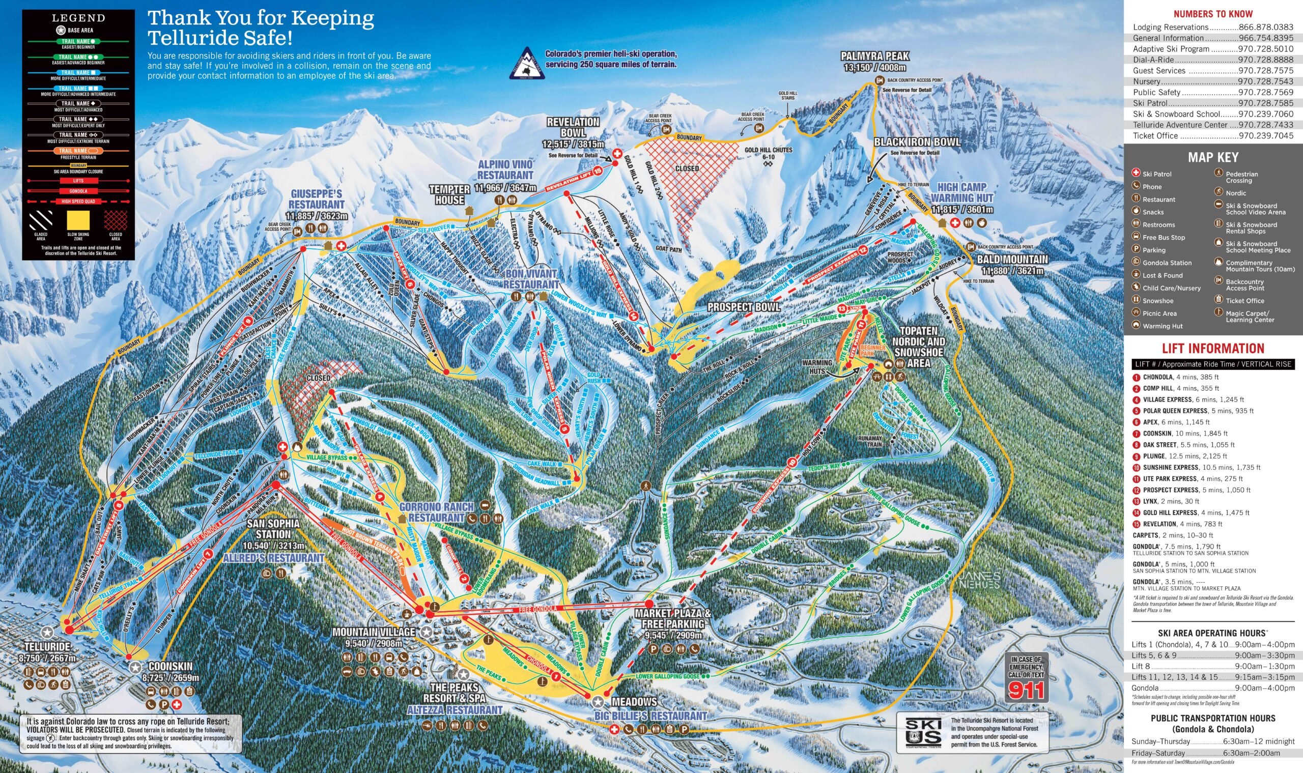 Teluride Ski Resort Trail Map