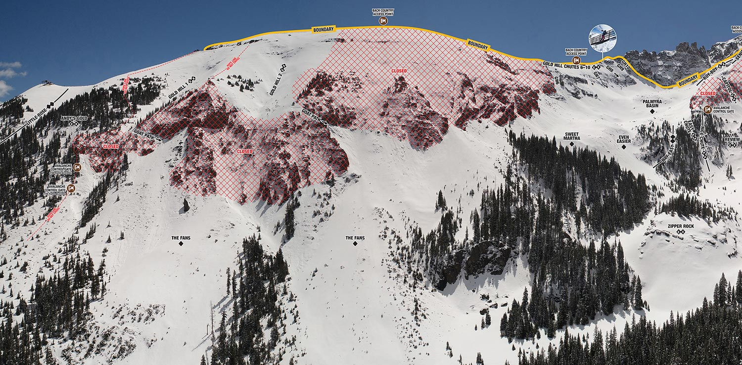 Map of Gold Hill Chutes