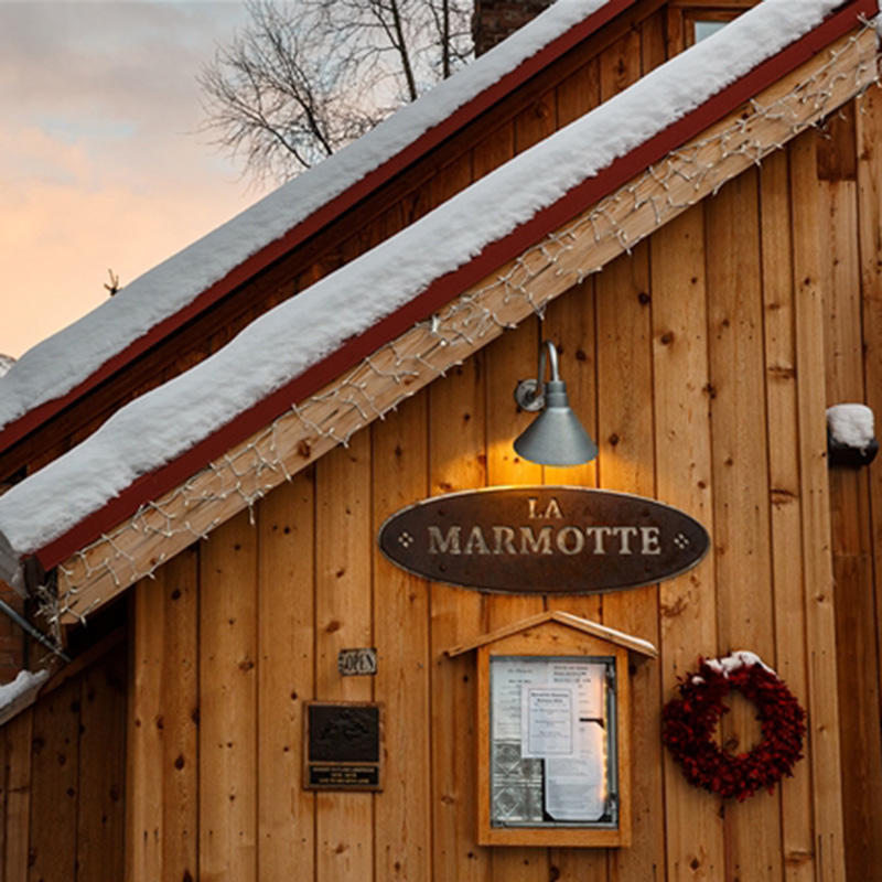 La Marmotte Exterior at Dusk