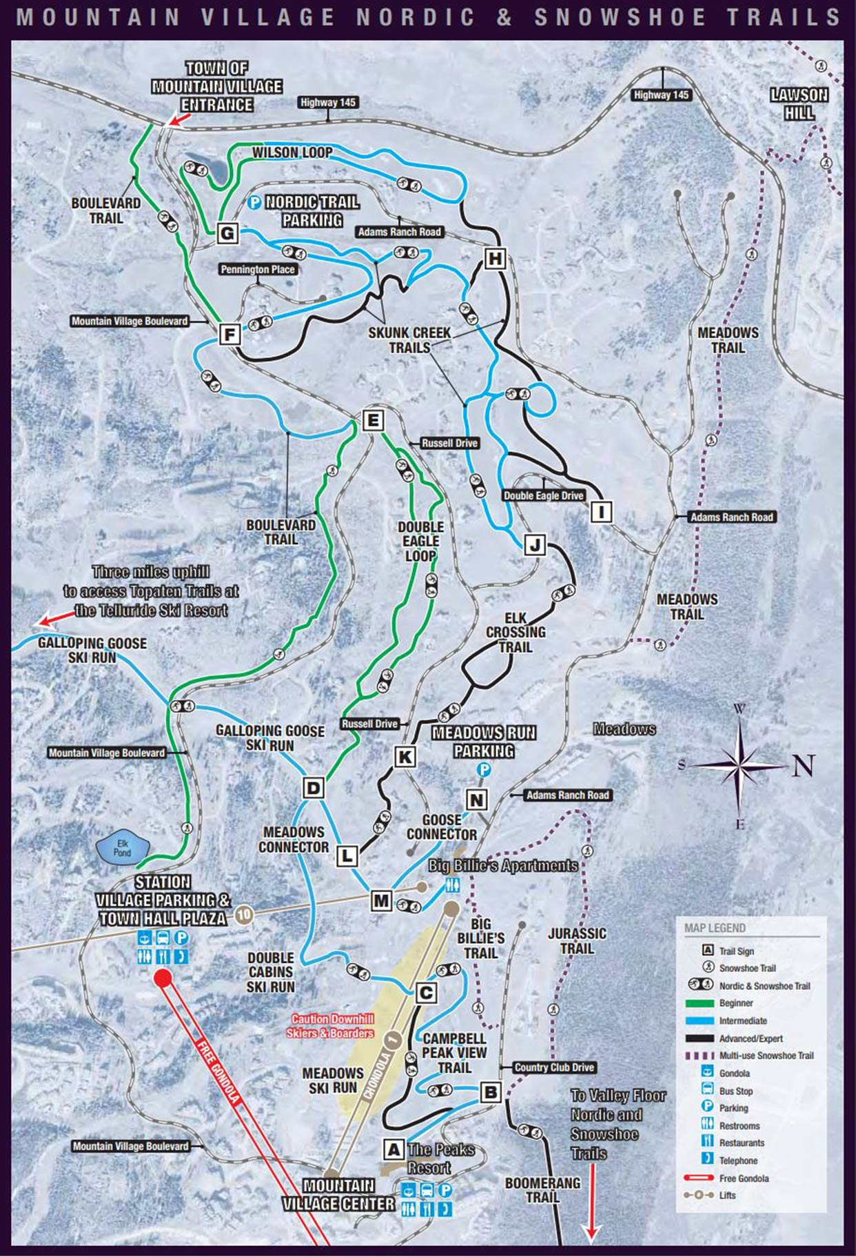 TOMV Nordic & Snowshoe Trail Map