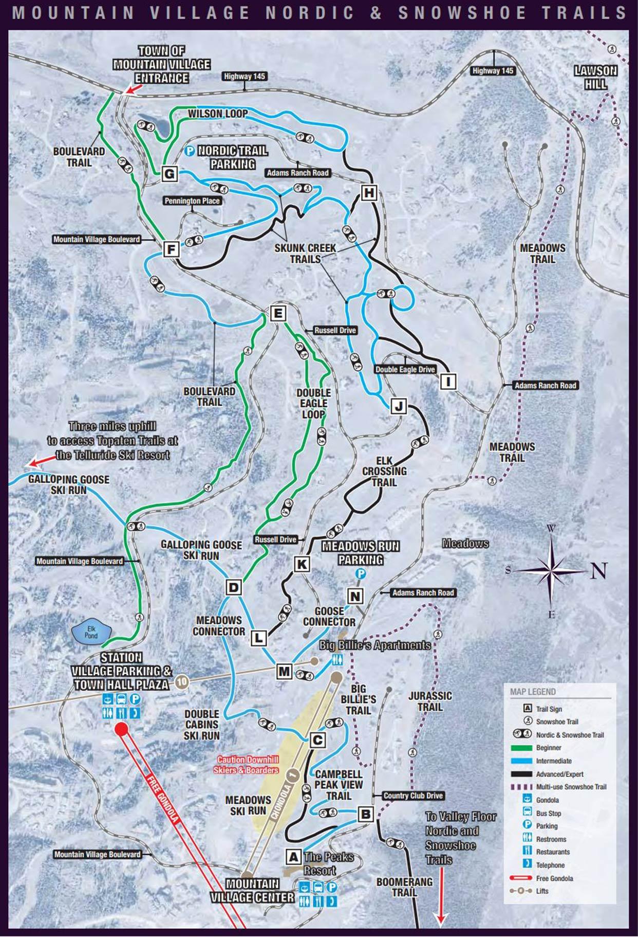 TOMV Nordic & Snowshoe Trail Map