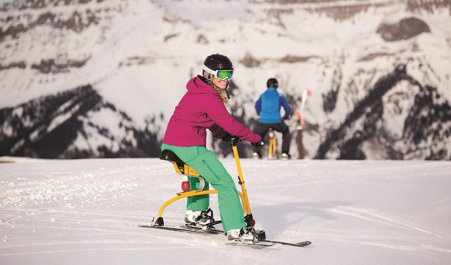 Smiling Snowbiker at Telluride Ski Resort