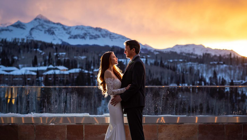 Winter Bride and Groom on Wilson Terrace at Sunset