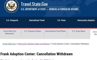 Frank Cancellation Withdrawn