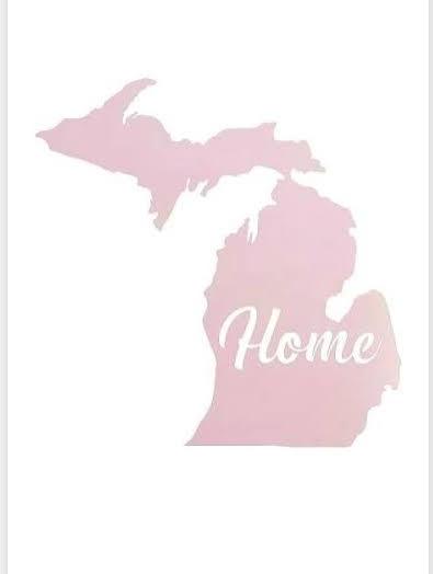 michigan map pink