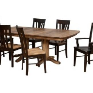 Millsdale double pedestal table in sandalwood on distressed maple with tulip back chairs sandalwood&ebony