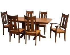 Millsdale Double Pedestal Table in Kara and Moke on Cherry with Tampa Chairs