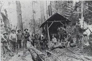 Logging Crew with Steam Donkey