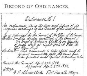 Ordinance 1, signed by Frank Harrell