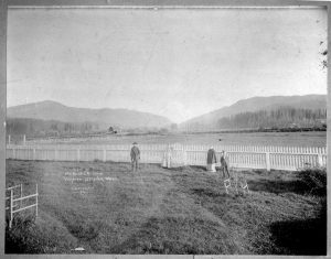 Anderson farm, 1895. Pictured from left are John Anderson, Addie Smart Anderson, Florence Smart and Lawrence Smart. The Anderson Farm later became part of the Lake Sammamish State Park.