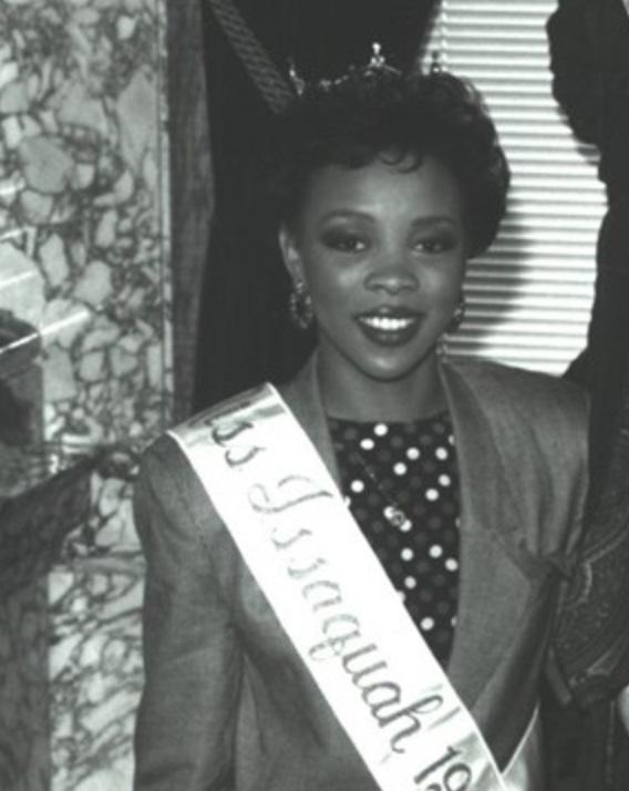 Chantal Wilkins wearing Miss Issaquah sash and tiara, 1991