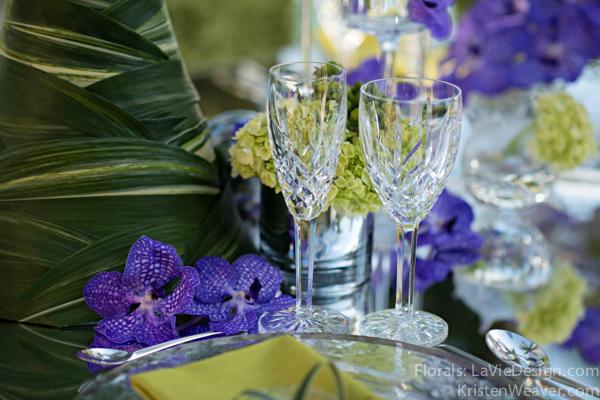 la-vie-en-rose-grace-ormonde-mirrored-table-top-crystal-blue-vanda-grass-orchid-shoot-green-purple-miami-four-seasons-florida