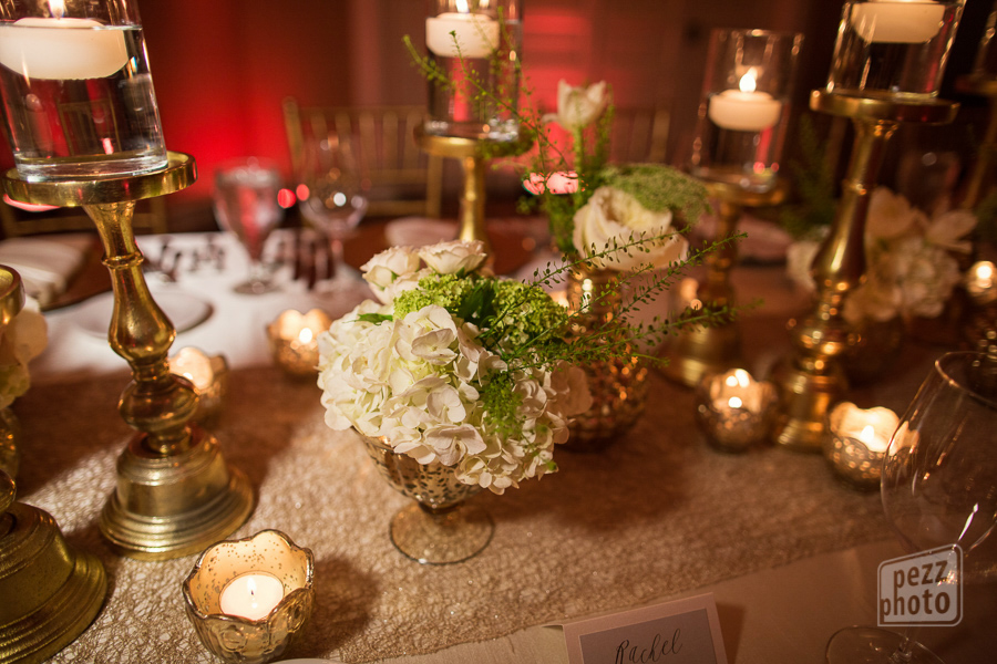 la-vie-en-rose-wedding-reception-lights-drapes-table-setting-centerpieces-candles-mercury-gold-chargers-overlays-napkins-linens-runner-roses-queen-anne's-lace-the-tampa-club