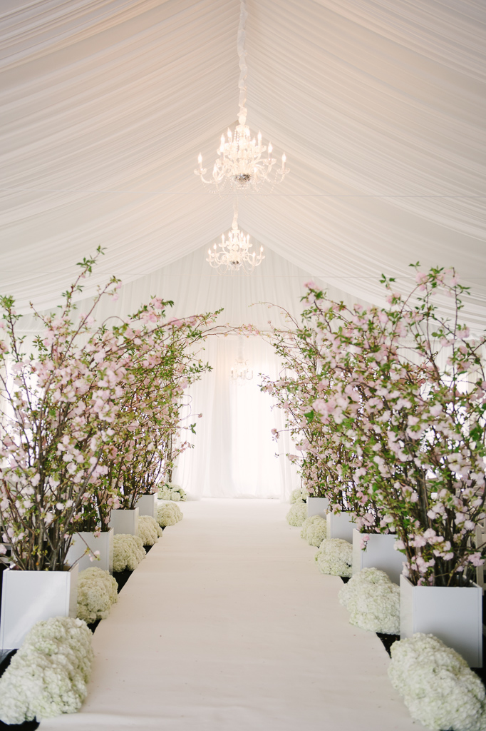 La-vie-en-rose-st-pete-florida-wedding-ceremony-aisle-white-ivory-blush-hydrangea-cherry-blossom-flower-carpet-elegant-vinoy