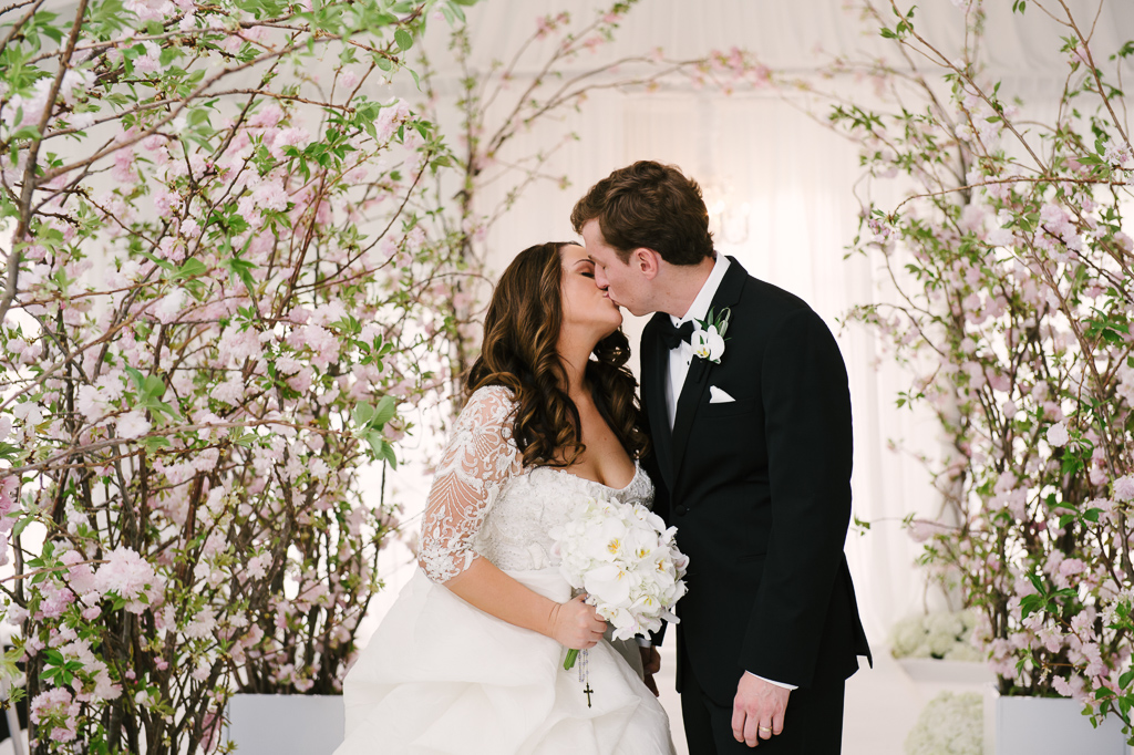 La-vie-en-rose-st-pete-florida-wedding--ceremony-arch-white-ivory-blush-hydrangea-cherry-blossom-flower-carpet-elegant-vinoy