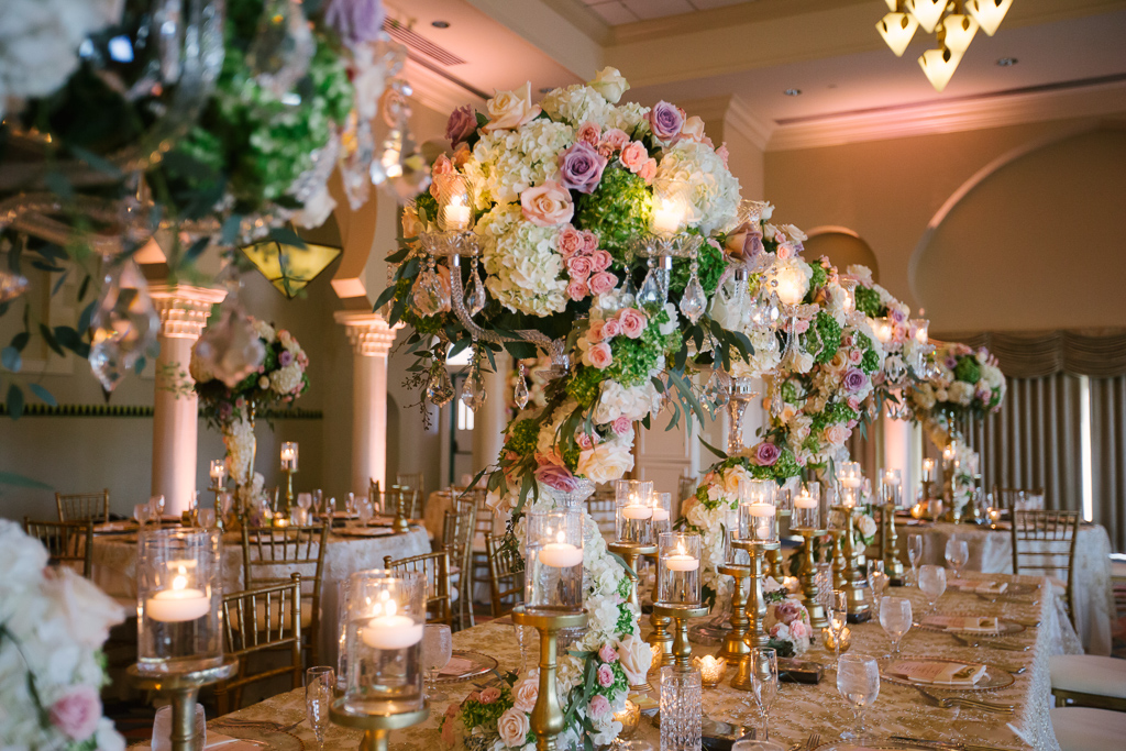La-vie-en-rose-st-pete-florida-wedding-centerpiece-reception-white-ivory-blush-purple-pink-hydrangea-flower-crystal-candelabra-elegant-vinoy