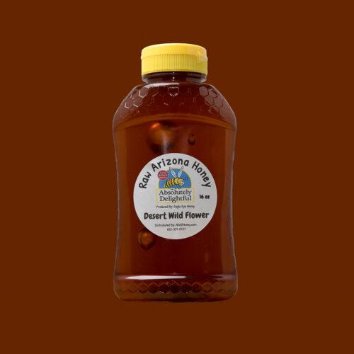 16oz Plastic Jar with Desert Wild Flower Honey