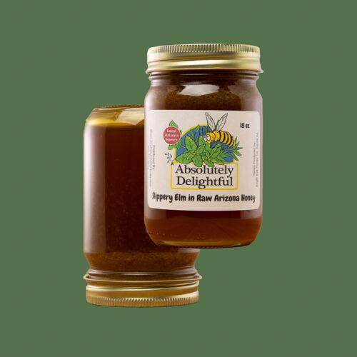 Two Floating 18oz Jars of Slippery Elm Infused Honey