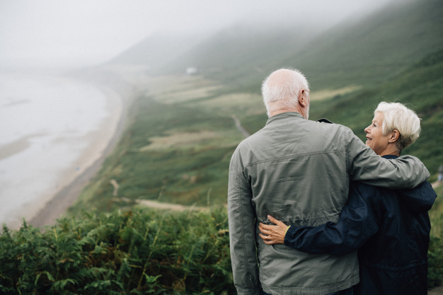 Old couple at mountain