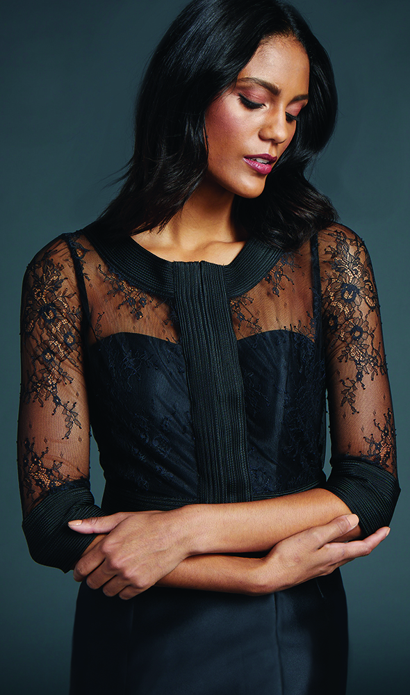 Introducing The Bella Jacket: A 3/4 length sleeve jacket of chantilly lace & soutache trim.