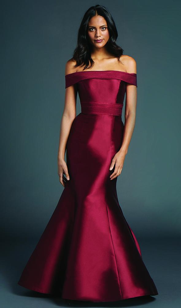 Off shoulder trumpet red evening gown