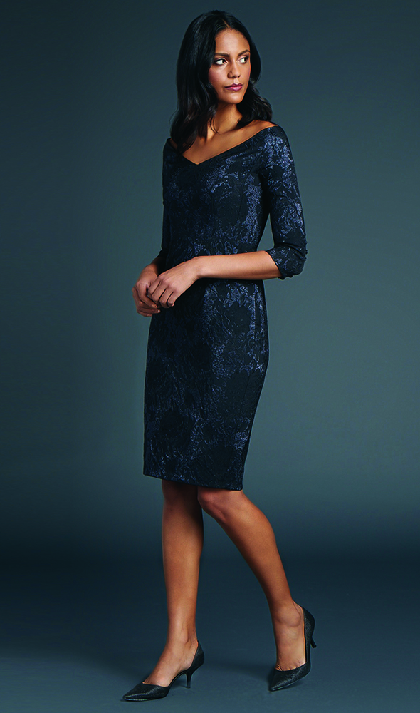 Fall in love with this picture perfect portrait V-neck of metallic jacquard fitted to the knee.
