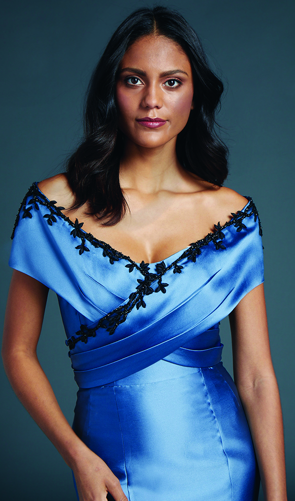 Sophia Wrap Blue Evening Gown by Anne Barge. Found at Black Label Collection