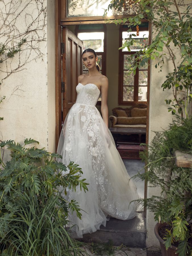 Strapless soft corset a-line bridal gown