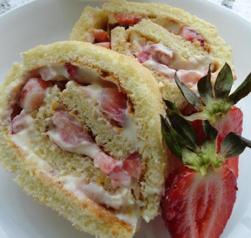 strawberry cream filled french roulade!