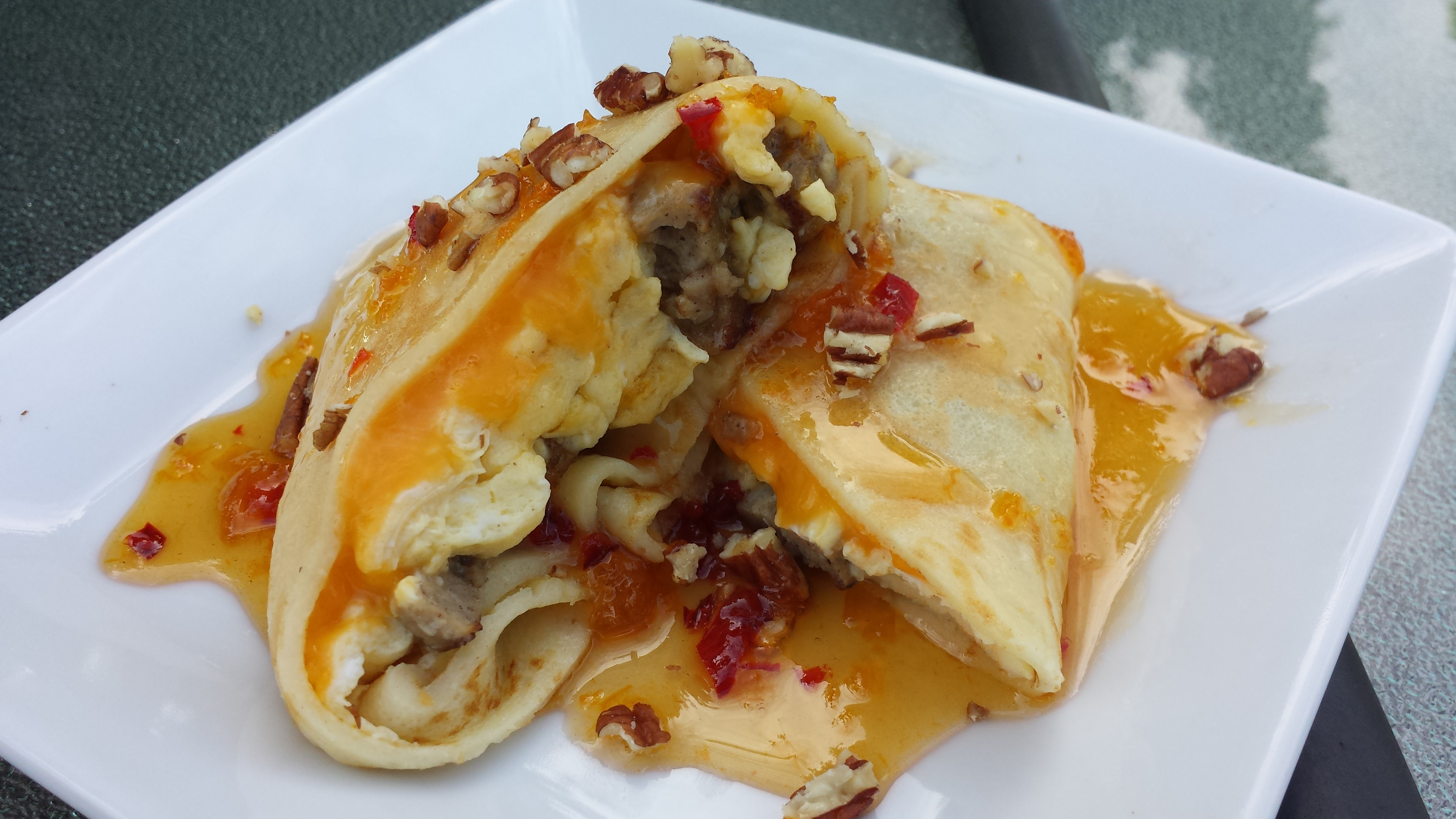 Breakfast Stuffed Crepes with Maple Apricot Chili Syrup
