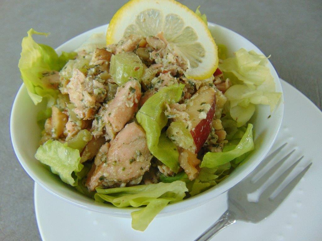 Lemony Pesto Salmon Waldorf Salad