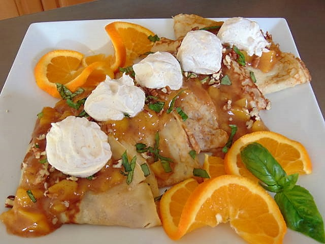 Cinnamon Rum Peach Stuffed Crepes with Orange Cinnamon Rum Whipped Cream & Basil